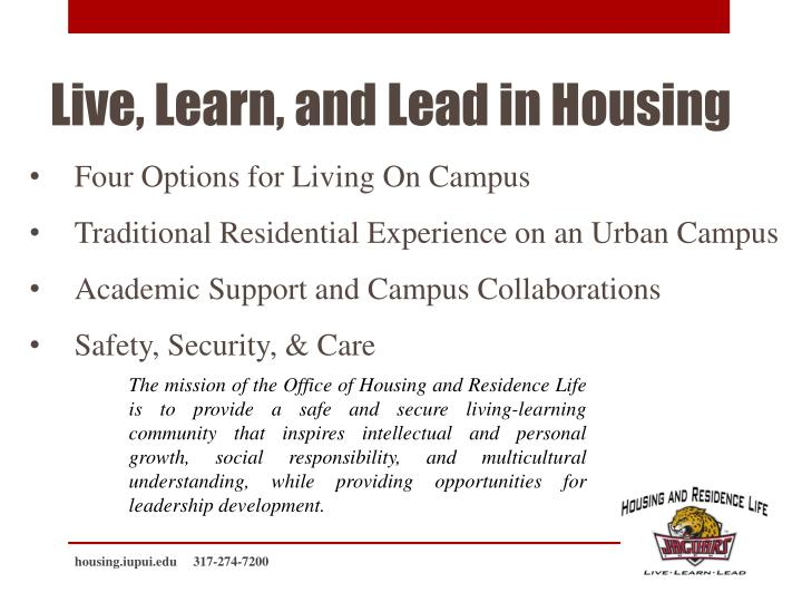 Live learn and lead in housing