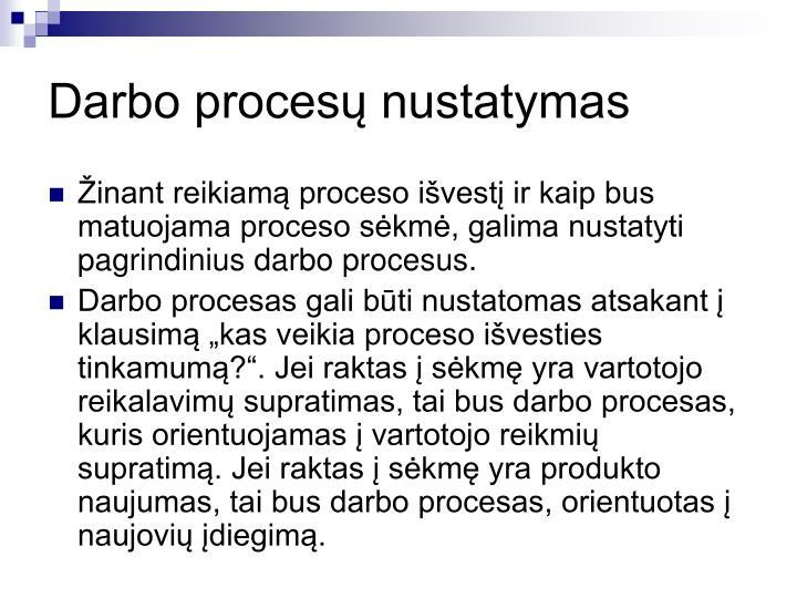 Darbo procesų nustatymas