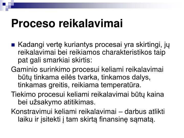 Proceso reikalavimai
