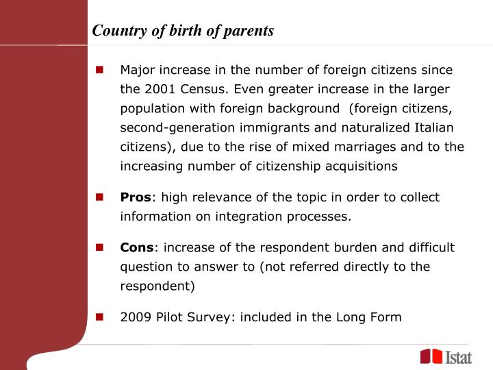 Country of birth of parents