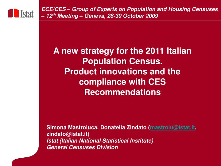 ECE/CES – Group of Experts on Population and Housing Censuses – 12