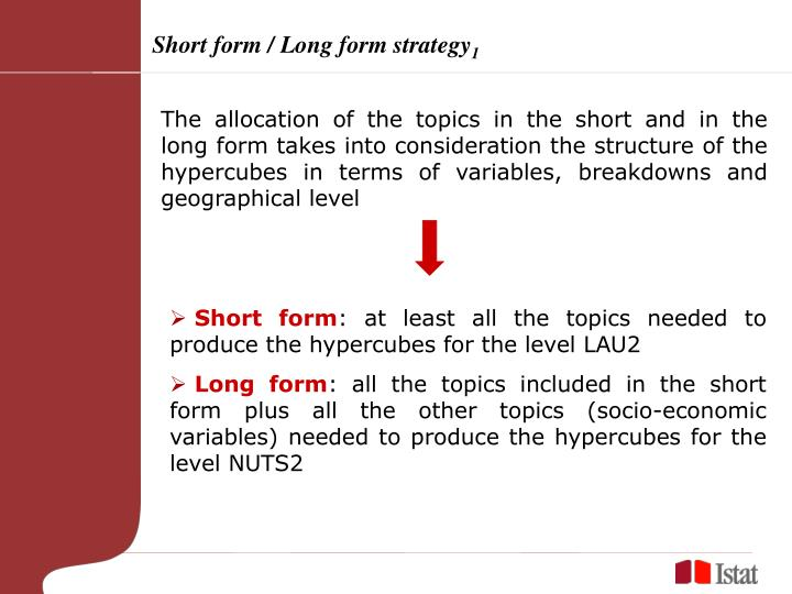 Short form / Long form strategy