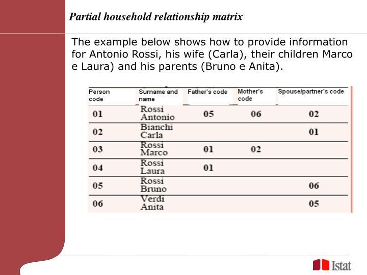 Partial household relationship matrix