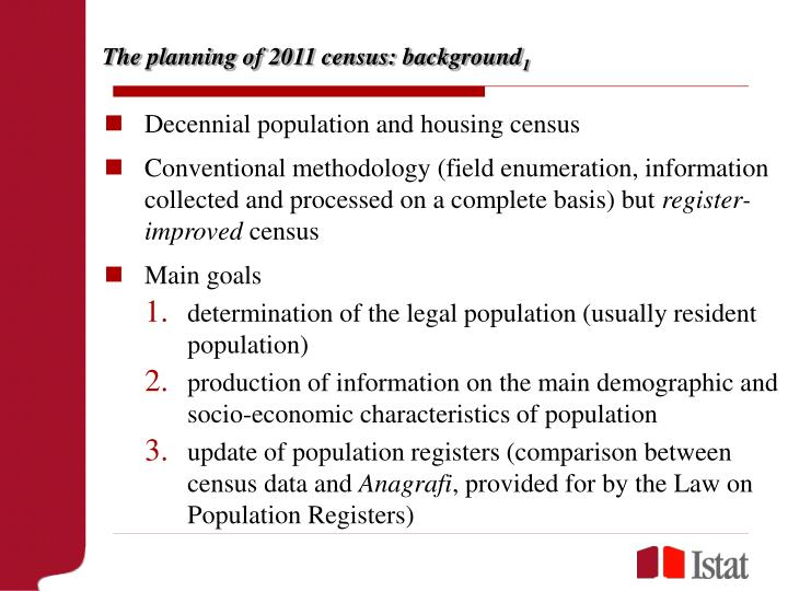 The planning of 2011 census background 1