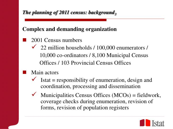The planning of 2011 census: background