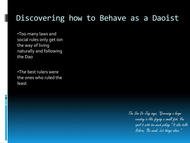 Discovering how to Behave as a Daoist