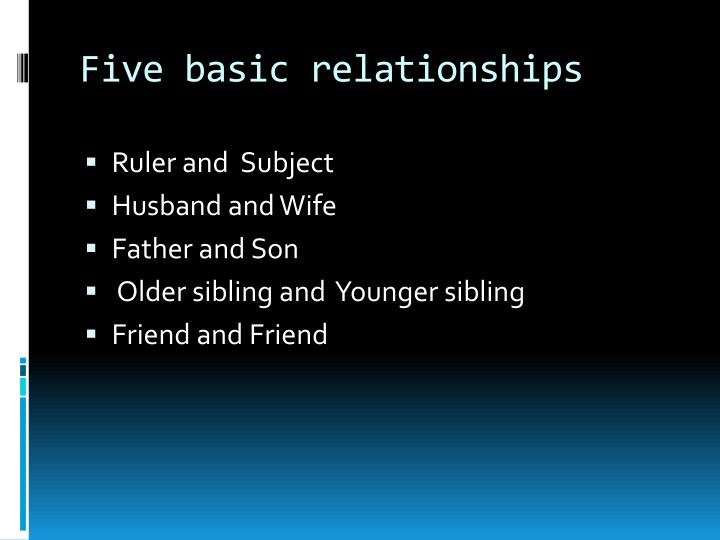Five basic relationships