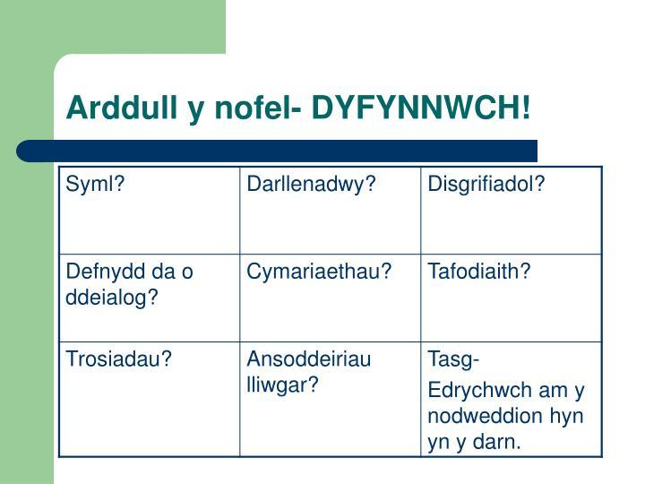 Arddull y nofel- DYFYNNWCH!