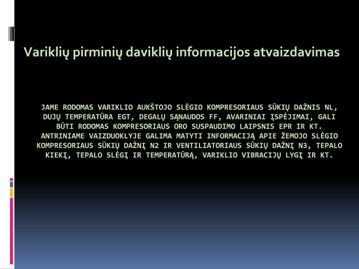 Variklių pirminių daviklių informacijos atvaizdavimas