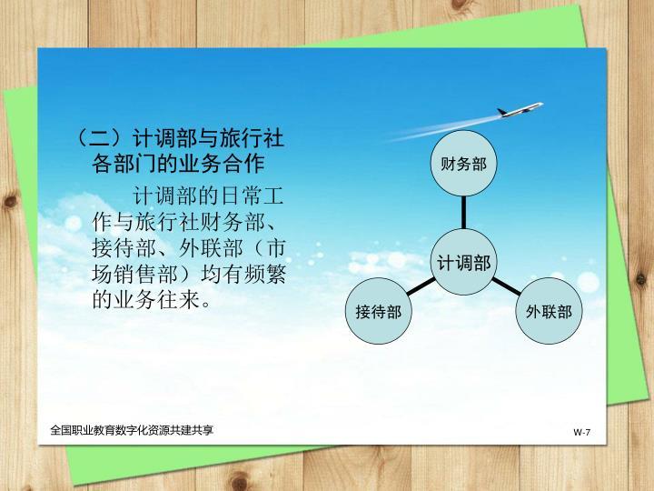 (二)计调部与旅行社各部门的业务合作