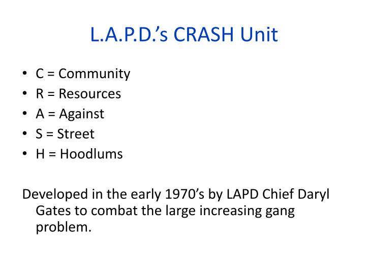 L a p d s crash unit