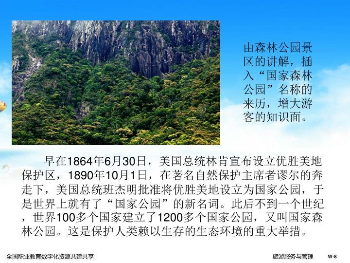 """由森林公园景区的讲解,插入""""国家森林公园""""名称的来历,增大游客的知识面。"""