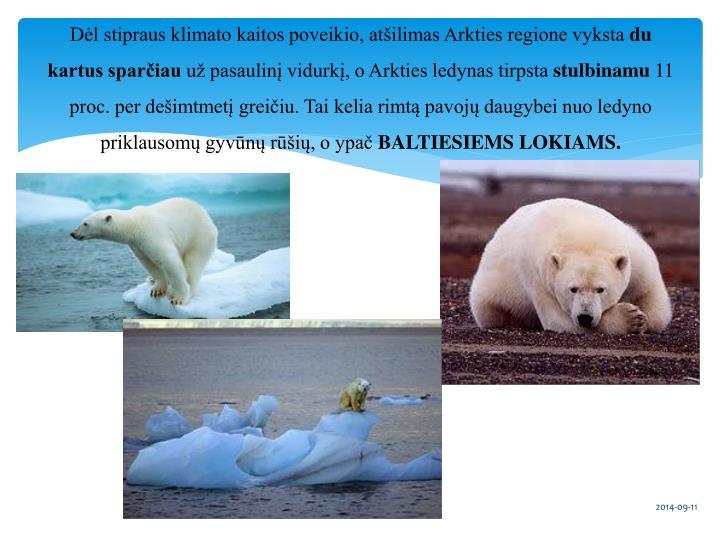 Dėl stipraus klimato kaitos poveikio, atšilimas Arkties regione vyksta