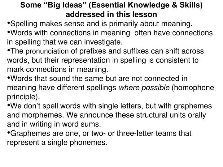 "Some ""Big Ideas"" (Essential Knowledge & Skills)"