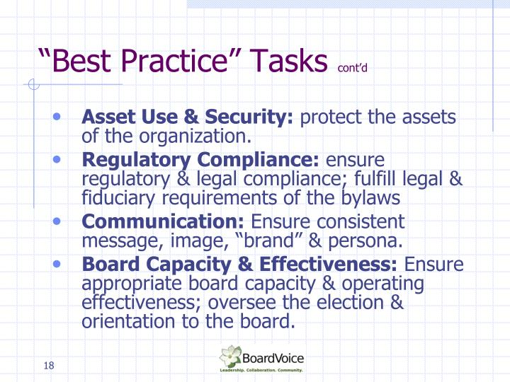 """Best Practice"" Tasks"
