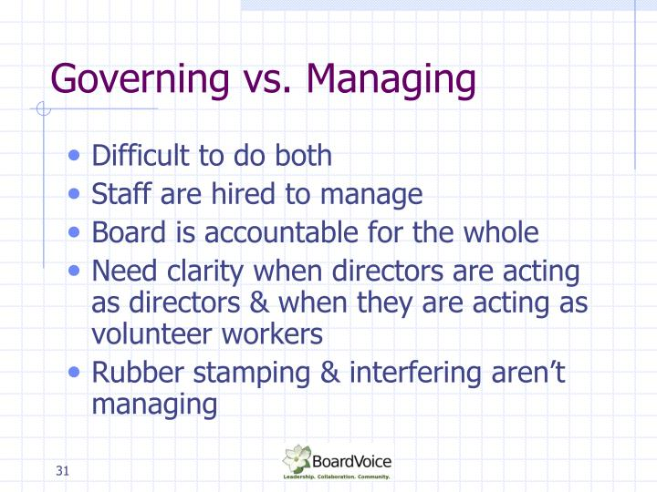 Governing vs. Managing