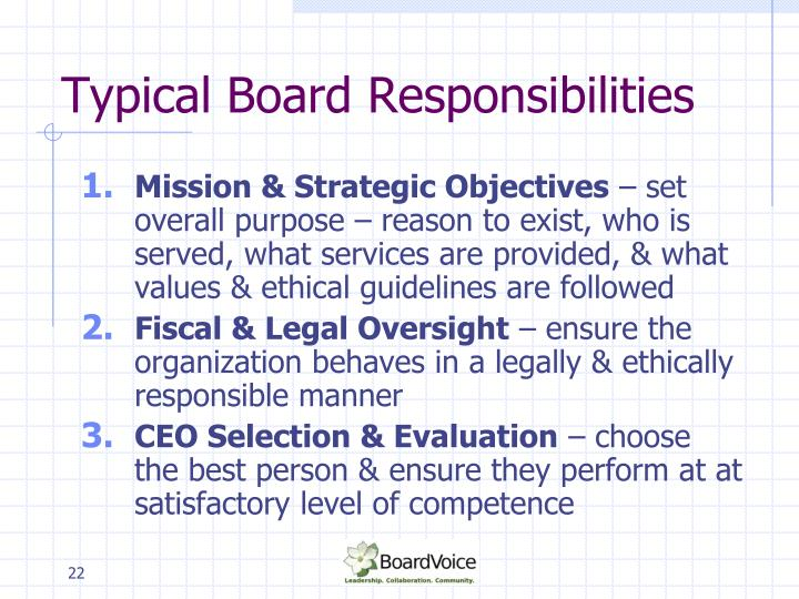 Typical Board Responsibilities