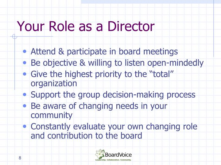 Your Role as a Director