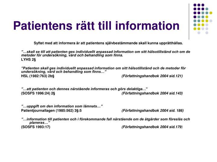 Patientens r tt till information