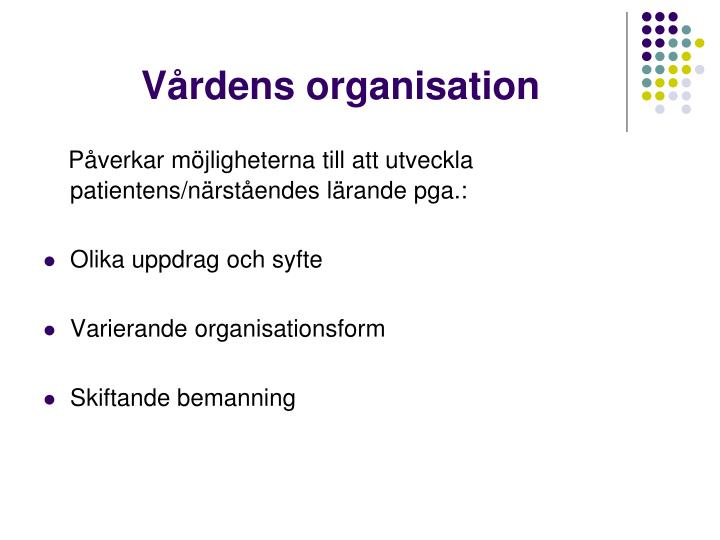 Vårdens organisation