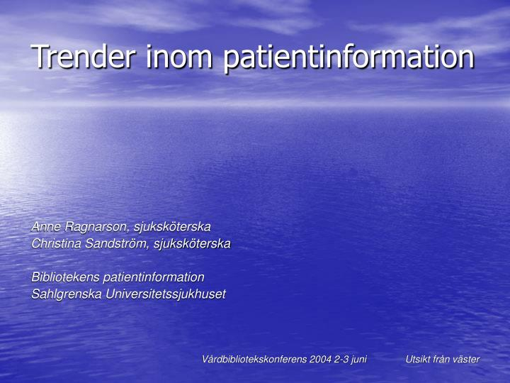 trender inom patientinformation