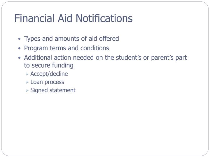 Financial Aid Notifications