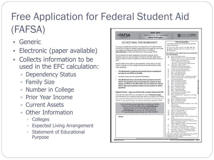 Free application for federal student aid fafsa