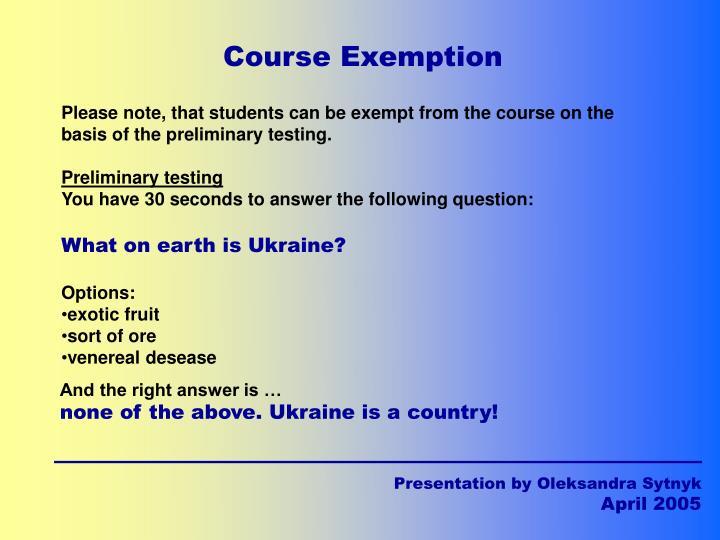 Course Exemption