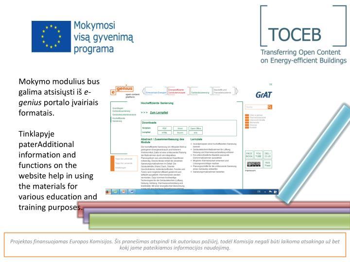 Mokymo modulius bus galima atsisiųsti iš