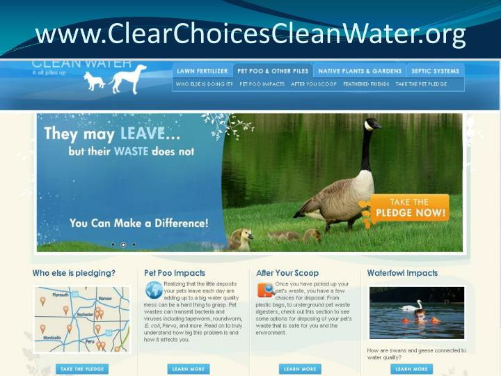 www.ClearChoicesCleanWater.org