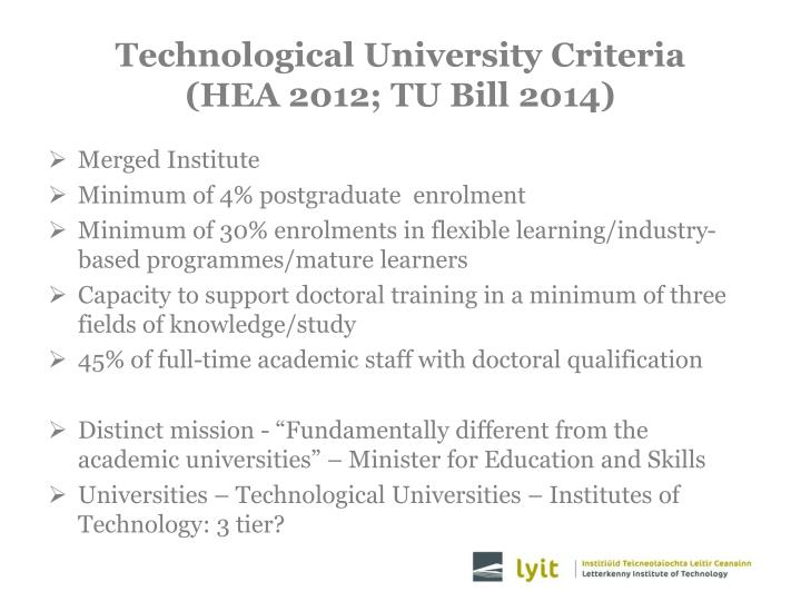 Technological University Criteria