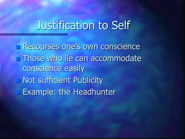 Justification to self