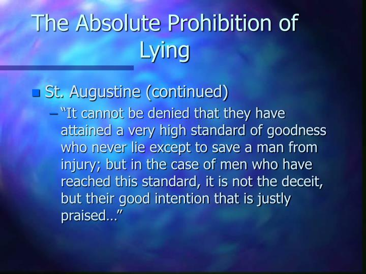 The Absolute Prohibition of Lying