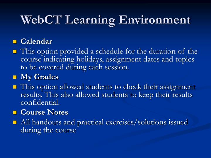 WebCT Learning Environment
