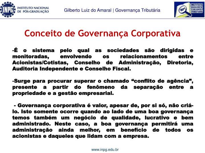 Conceito de governan a corporativa