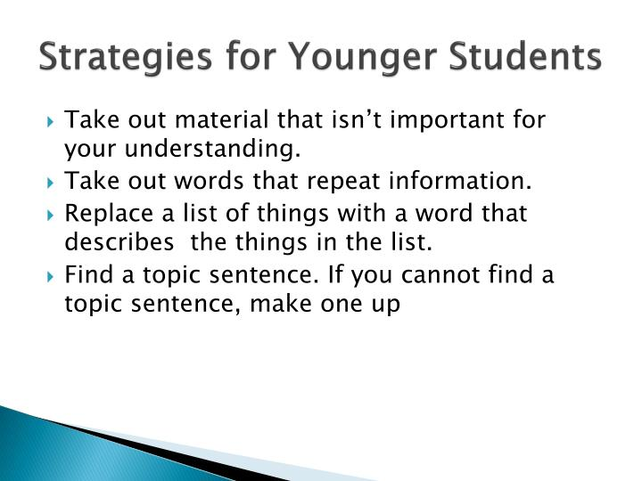 Strategies for Younger Students