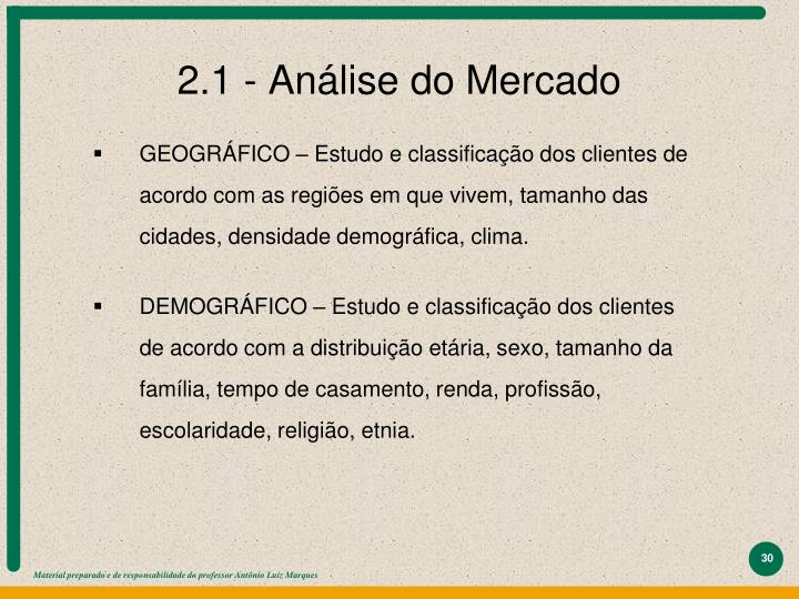 2.1 - Análise do Mercado