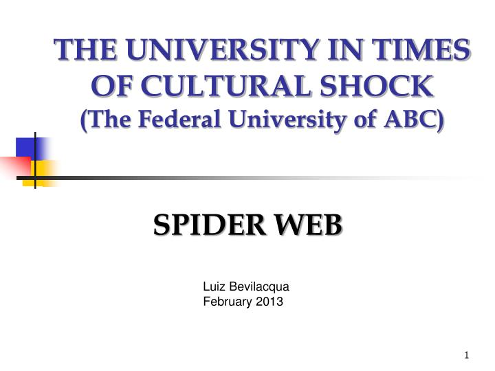 the university in times of cultural shock the federal university of abc n.