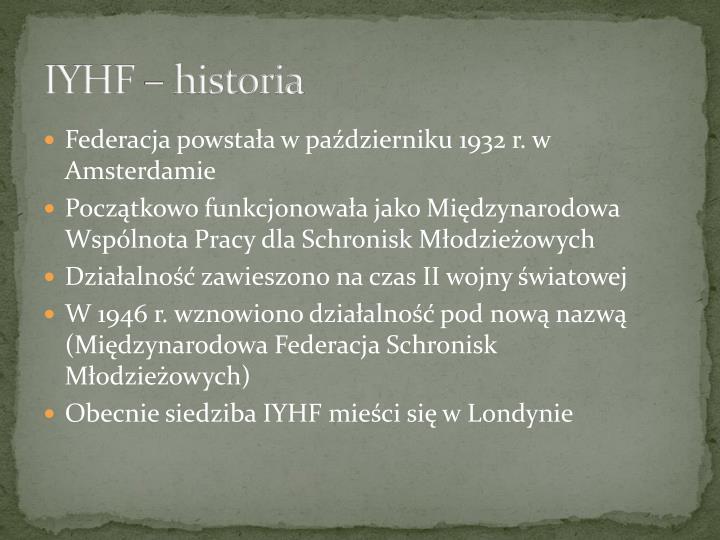 Iyhf historia