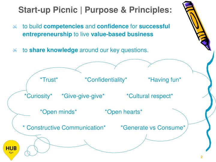 Start-up Picnic | Purpose & Principles:
