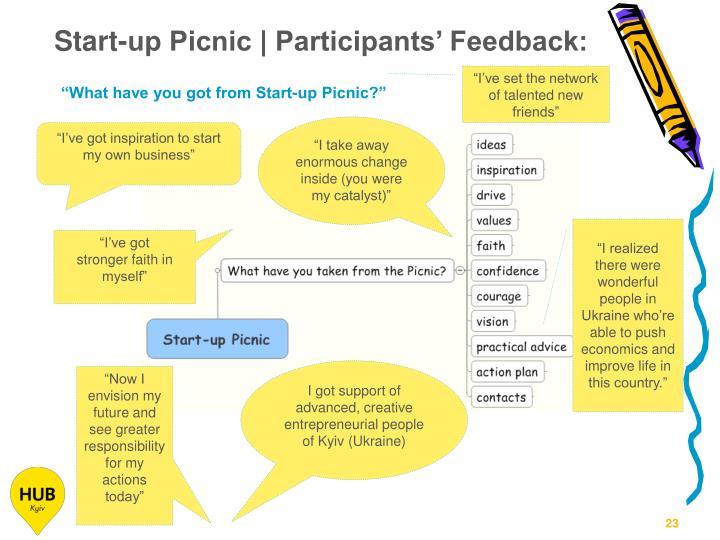 Start-up Picnic | Participants' Feedback: