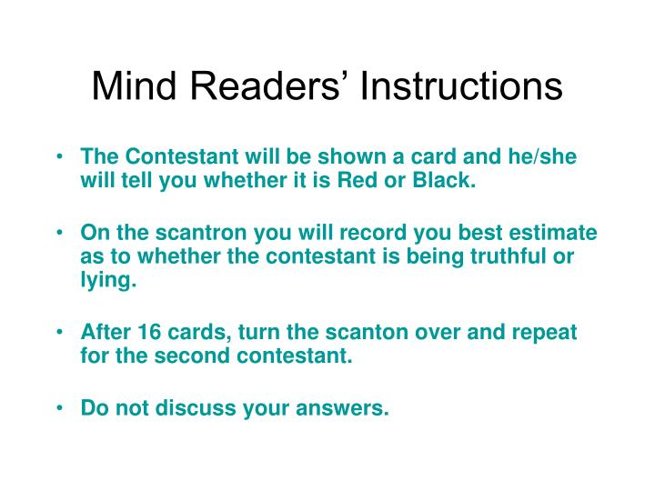 Mind Readers' Instructions