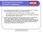 developments in turkey national legislation