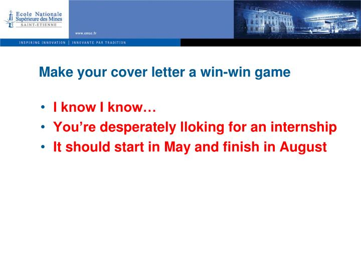 Make your cover letter a win win game