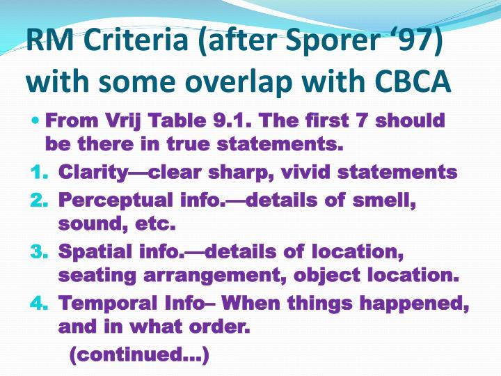 RM Criteria (after Sporer '97) with some overlap with CBCA