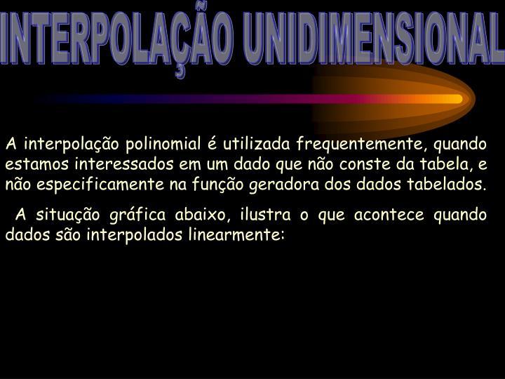 INTERPOLAÇÃO UNIDIMENSIONAL