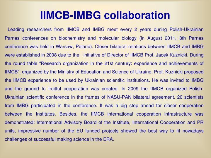 IIMCB-IMBG collaboration