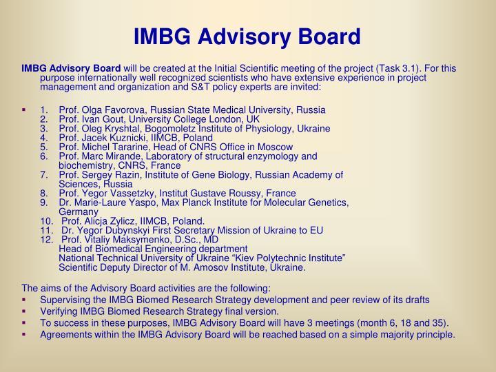 IMBG Advisory Board