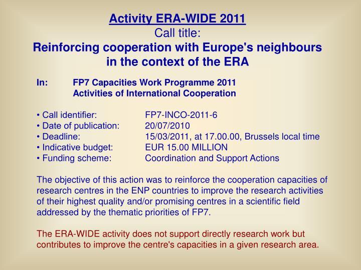 Activity ERA-WIDE
