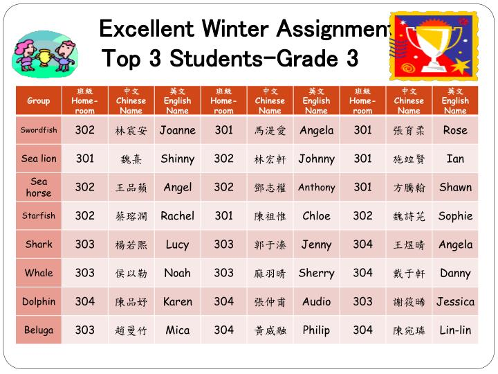 Excellent winter assignment top 3 students grade 3